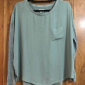 Lou & Grey Sage Jersey Sleeve Top